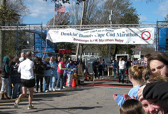 Runners at the finish line of the Cape Cod Marathon.
